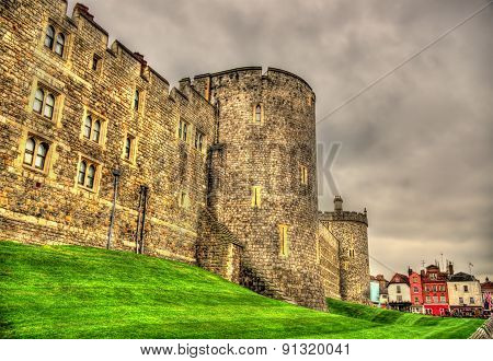 Walls Of Windsor Castle Near London, England