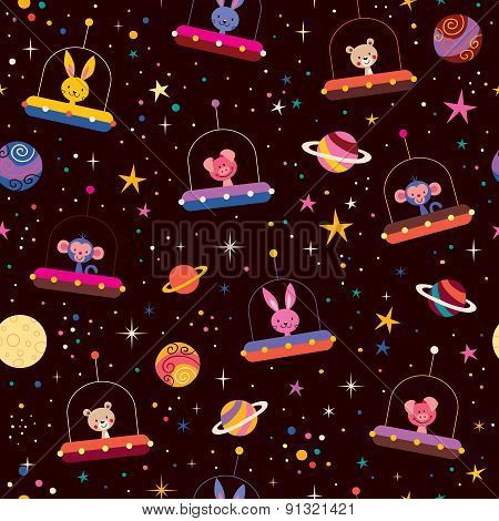 cute animals in space kids pattern