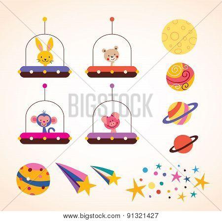 cute animals in spaceships kids design elements set