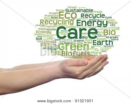 Concept or conceptual abstract green ecology, conservation word cloud text in man hand on white background
