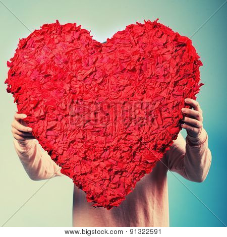 Portrait Of Beautiful Happy Woman Hold A Heart