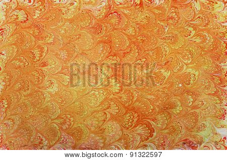 Yellow Ebru Patterned Fan