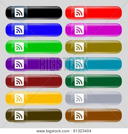 Rss Feed  Icon Sign. Set From Fourteen Multi-colored Glass Buttons With Place For Text. Vector