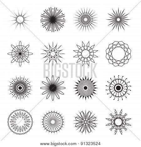 Vector Vintage Circular Ornaments. Retro Sunburst Collection