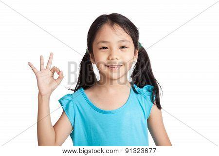 Little Asian Girl Smile Show Ok Sign