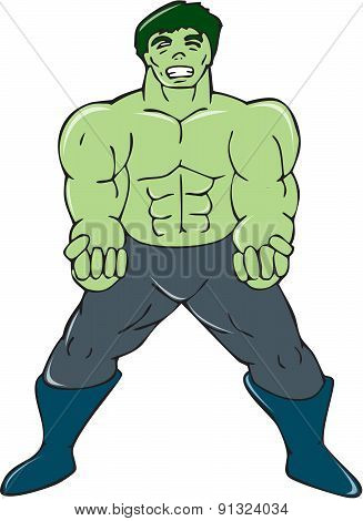 Green Angry Man Clenching Fist Cartoon