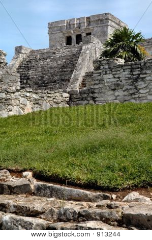 Ancient Mayan Temple In Tulum, Mexico
