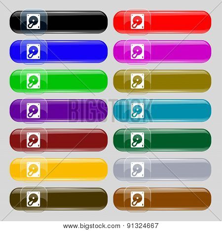 Hard Disk And Database  Icon Sign. Set From Fourteen Multi-colored Glass Buttons With Place For Text