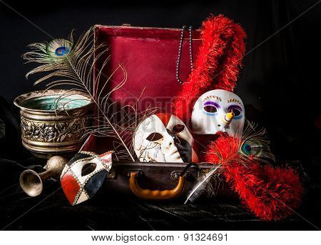 Bright porcelain mask red suitcase peacock feather