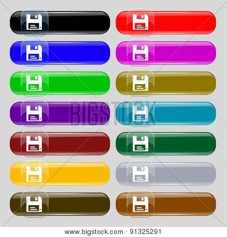 Floppy  Icon Sign. Set From Fourteen Multi-colored Glass Buttons With Place For Text. Vector