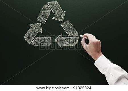 recycle sketch on blackboard Environment protection concept