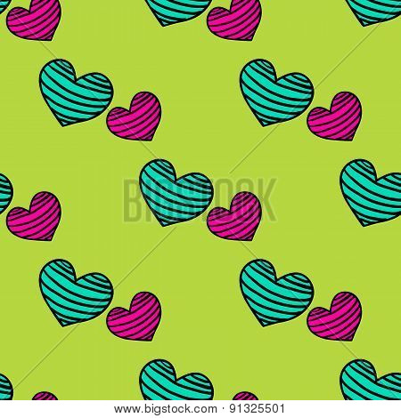 Seamless Striped Pattern With Hearts On A Light Green  Background