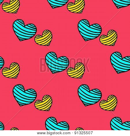 Seamless Striped Pattern With Hearts On A Pink  Background