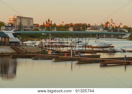 Kotorosl river with boats