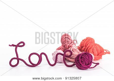 isolated word love of red thread