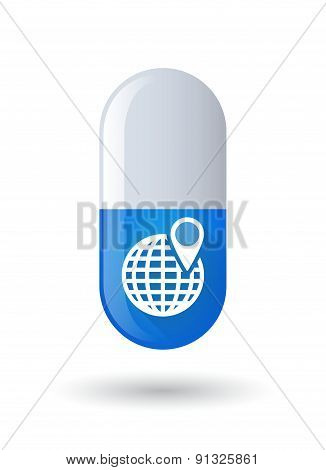 Blue Pill Icon With A World Globe