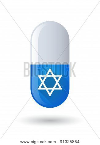 Blue Pill Icon With A David Star