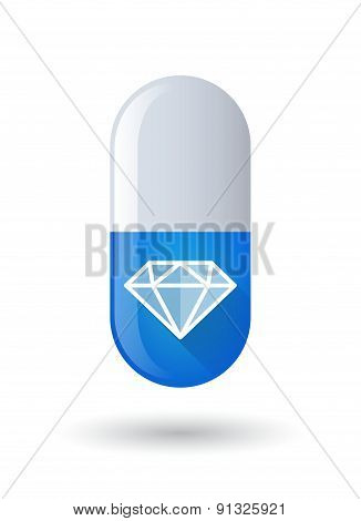 Blue Pill Icon With A Diamond