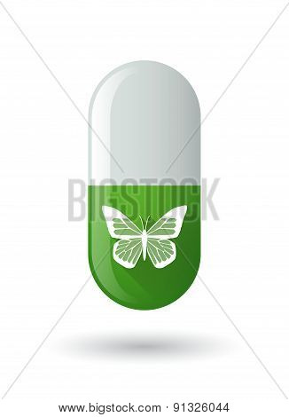 Green Pill Icon With A Butterfly