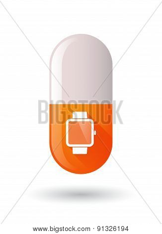 Orange Pill Icon With A Smart Watch