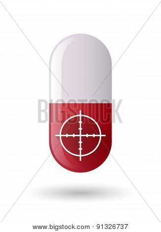 Red Pill Icon With A Crosshair
