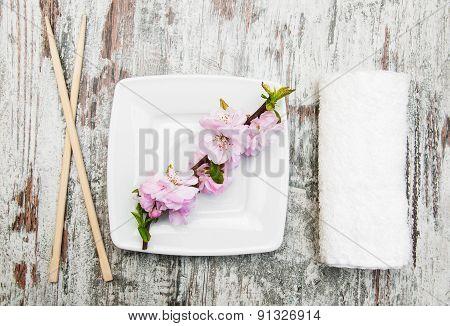 Plate, Chopsticks And Sakura Branch