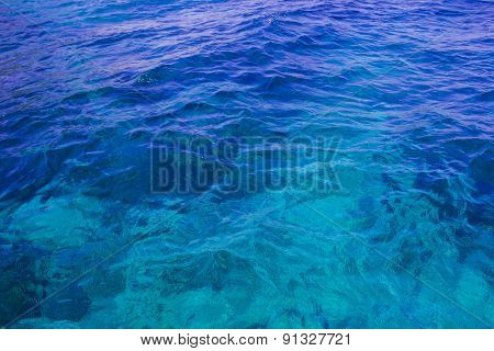 Water Reflections On Shallow Sandy Beach Bottom Of Clear Turquoise Green Lagoon