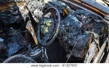 Car interior after fire
