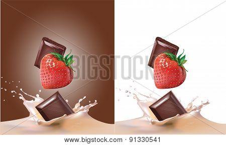 strawberries, milk, chocolate
