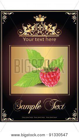 ripe, delicious raspberries. beautiful label