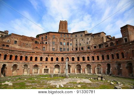 A Panoramic View On Trajan's Market (mercati Traianei) In Rome, Italy