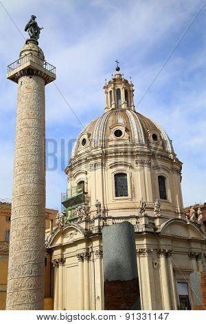 Traian Column And Santa Maria Di Loreto In Rome, Italy