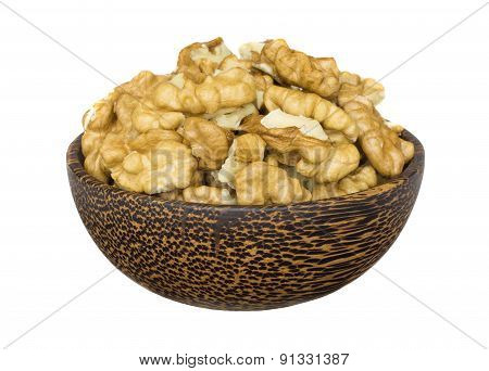 Shelled Walnuts In Wooden Bowl