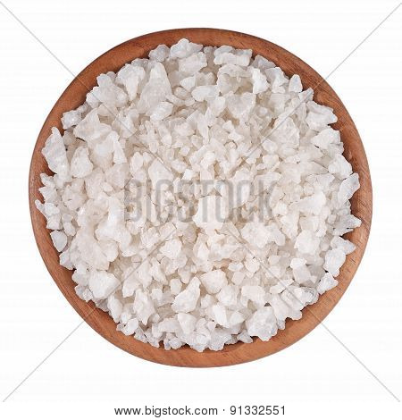 Sea Salt In A Wooden Bowl On A White