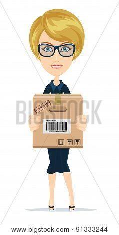 Delivery woman isolated on the white background.Vector
