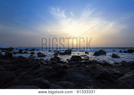 Sunset on a beach Gomera island, Spain