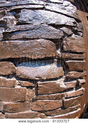 The Wall Of The Large Natural Stone, Painted Brown Paint