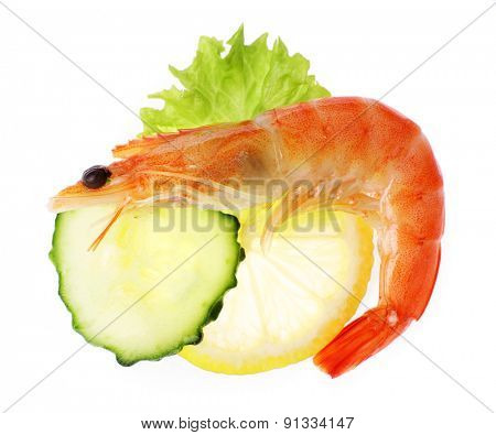 Boiled shrimp with lemon and cucumber isolated on white
