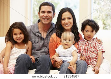 Hispanic family at home