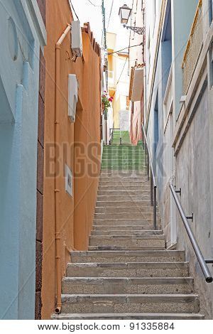 Picturesque alley in a village on Gomera island, Spain