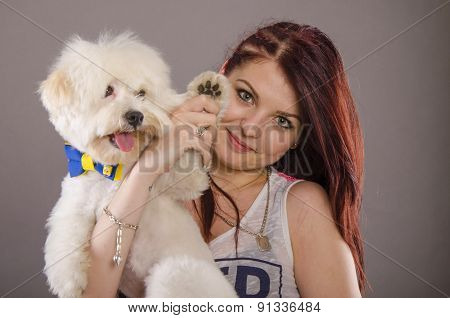 Maltese Dog And Girl