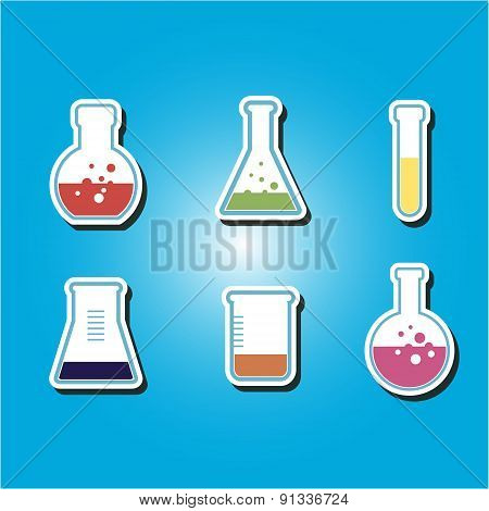 set of color icons with containers for chemical goods