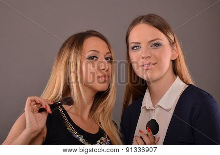 Two Girls During Makeup