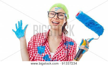 Smiling Joyous Woman With Roller Ready For Renovating, Isolated On White