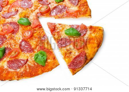 Delicious Pizza With Salami And Cherry Tomatoes