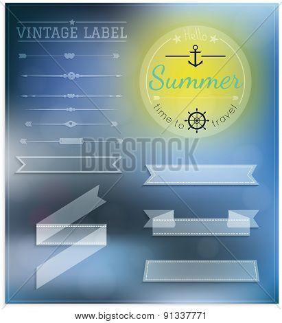 Set Of Vintage Summer Hipster Badges