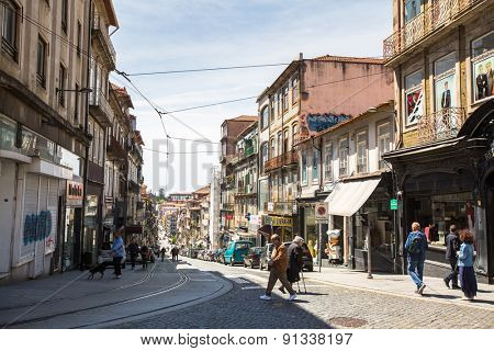 PORTO, PORTUGAL - MAY 14, 2015: One of the streets in the Porto Old town. UNESCO recognised Old Town of Porto as a World Heritage Site in 1996.