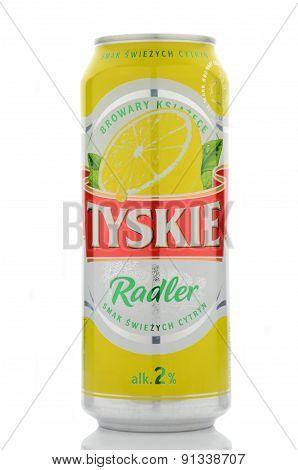 Tyskie Radler beer isolated on white background