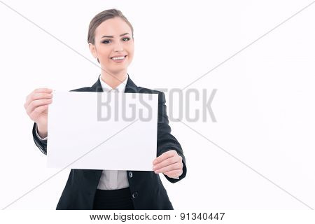 Beautiful woman advertising in formal clothes