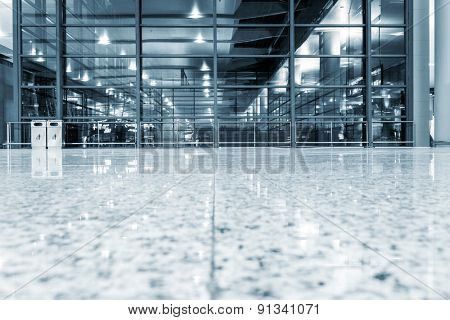 transparent glass wall with empty floor